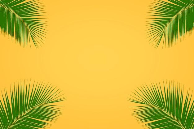 Зеленые тропические пальмы листья на ярко-желтом фоне, летний фон