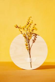 Зеленые веточки прикреплены к кругу возле тонкого растения с цветами на желтом фоне