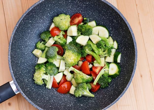 Зеленые овощи, брокколи, кабачки, помидоры в сковороде voc