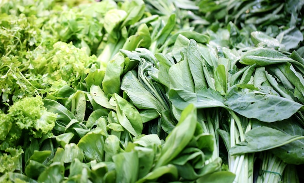 Green vegetables leafy food background, healthy eating concept.