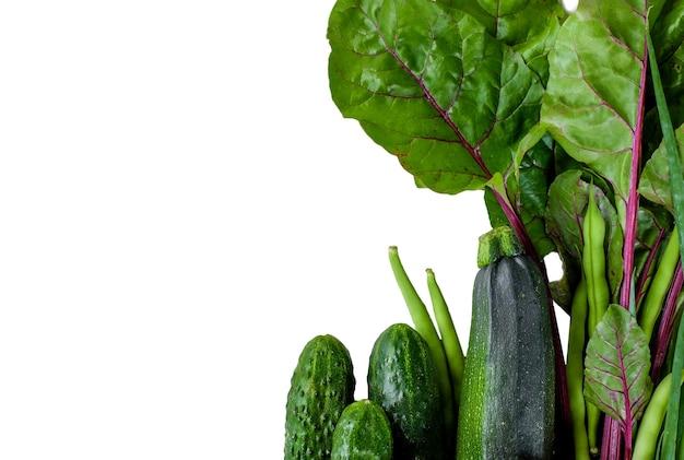 キュウリ、ズッキーニ、分離された白い背景の葉のような緑の野菜。コピースペース