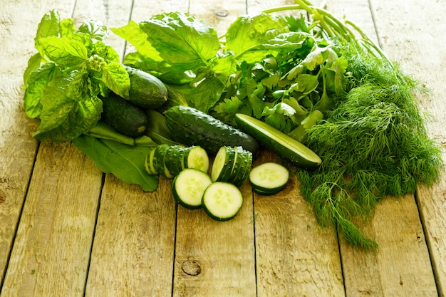 緑の野菜、植物、ハーブ