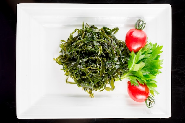 Green vegetables with garnish