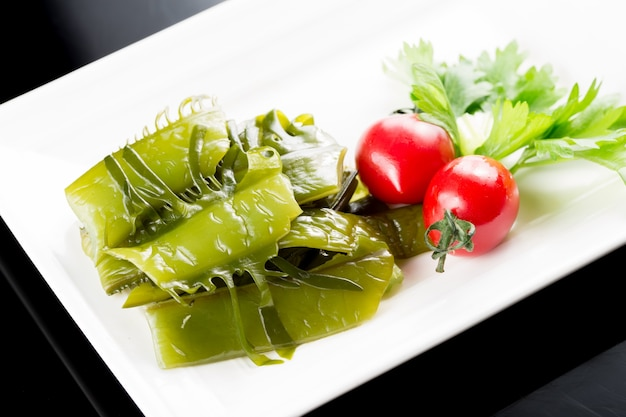Green vegetables with tomatoes
