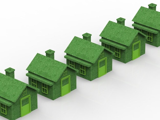 Green village with eco house in a row