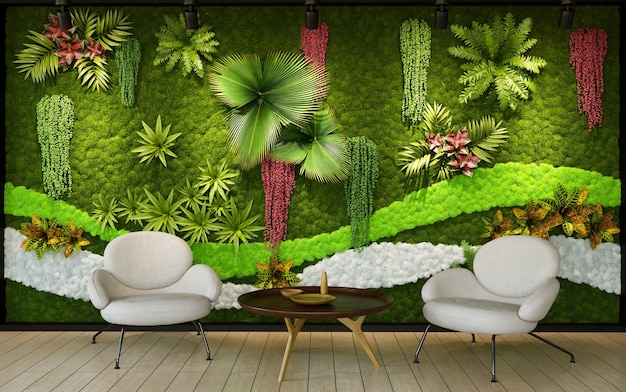 Green wall background in interior 3d render