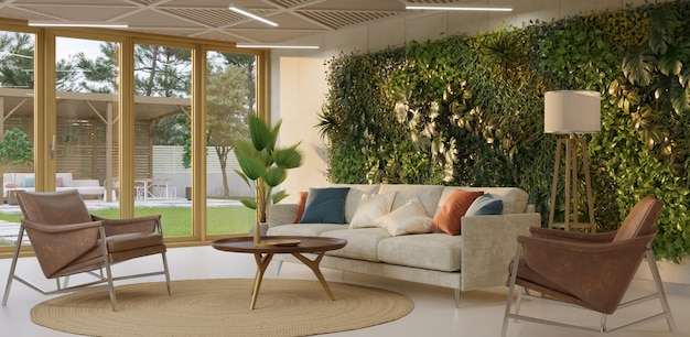 リビングルームのインテリアの緑の壁垂直ガーデンインテリア3dレンダリング