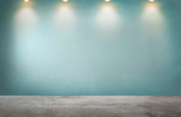 빈 방에 스포트 라이트의 행과 녹색 벽