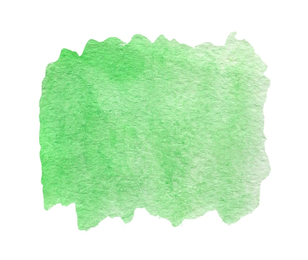 Green watercolor abstract background or texture isolated on white