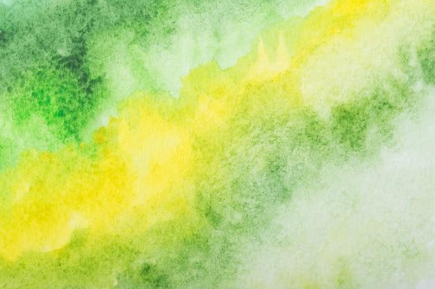 緑の水彩画の背景。描くことによって