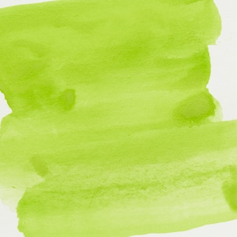 Green watercolor brush stroke on white paper