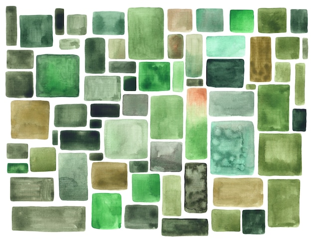 녹색 수채화 브러시 스트로크 빈티지 배경입니다. 수채색 고르지 않은 정사각형 및 직사각형 반점 또는 얼룩 텍스처 패턴입니다. 추상 손으로 그린 기하학적 템플릿입니다.