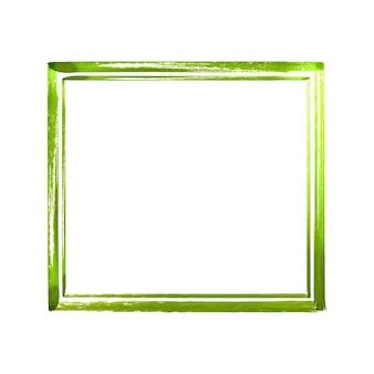 緑の水彩グランジフレーム。白い背景で隔離のヴィンテージの抽象的な緑のテクスチャブラシストロークフレーム。手描きの水彩イラスト