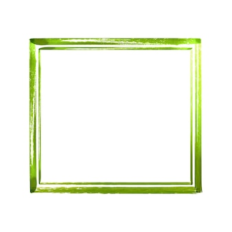 Green watercolor grunge frame. vintage abstract green textured brush strokes frame  isolated on white background. hand drawn watercolour illustration