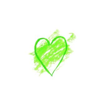 緑の水彩ハート型ロゴデザインテンプレートスポット。緑の水彩手描きサインラベルエンブレムポスターバナーステイン。エコデザインテンプレートグランジテクスチャイラスト白い背景で隔離