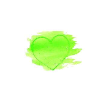 Green watercolor heart shape logo design template spot