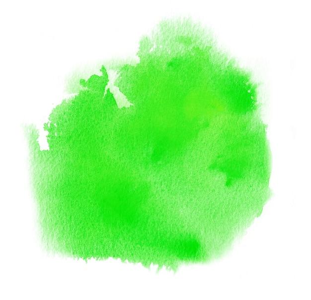 緑の水彩、アクワレルペイントブロッチのインク汚れ