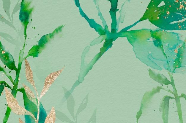 Green watercolor leaf background aesthetic spring season