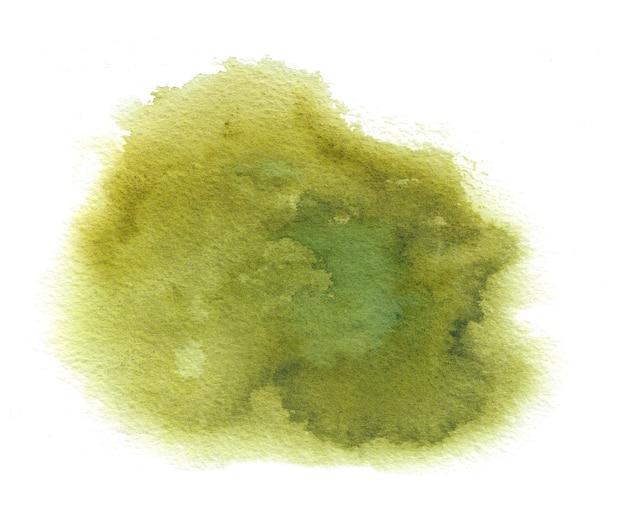 アクアレルペイントのしみ、ブラシストロークで緑の水彩テクスチャステイン