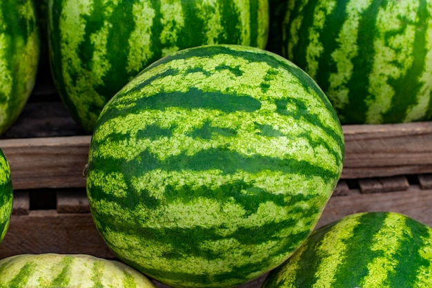 Green watermelons on the market bench or counter.