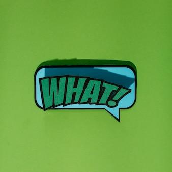 Verde cosa! nuvoletta di testo su sfondo verde