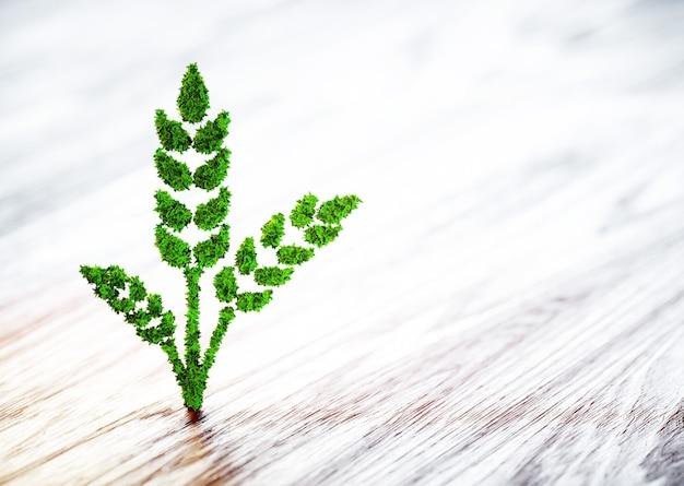 Зеленый знак пшеницы на стертом деревянном фоне. 3d иллюстрации.