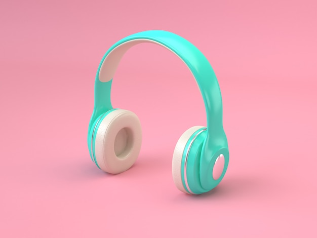 Green white headphones minimal pink background 3d rendering