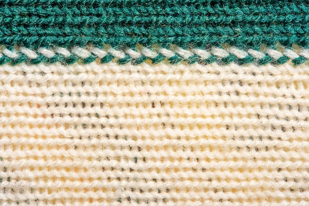 Green and white knitting wool texture