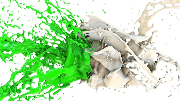 Green and white liquid collide, drops splatter fly into the sides on a white isolated background