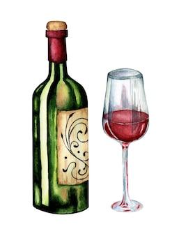 美しいラベルと塗りつぶされたガラスのイラストと緑のワインボトル