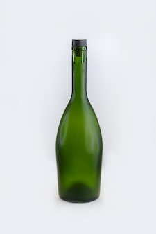 Green wine bottles on isolated white background