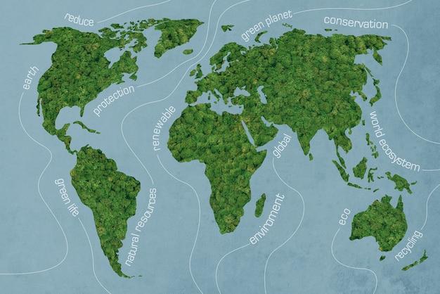 녹색 세계. 파란색 배경에서 이끼 질감 세계 지도의 클로즈업 이미지
