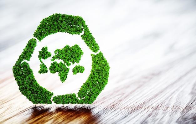 木製の机の上の緑の世界の持続可能な開発のシンボル。 3dイラスト。