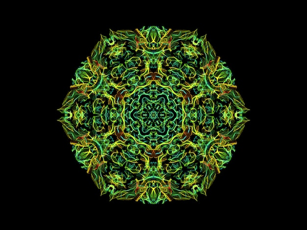 Green and yellow abstract flame mandala flower, ornamental floral hexagonal pattern on black background.