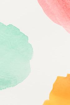 녹색; 흰 종이에 노란색과 빨간색 얼룩이
