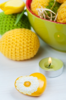 Green yellow crocheted easter eggs