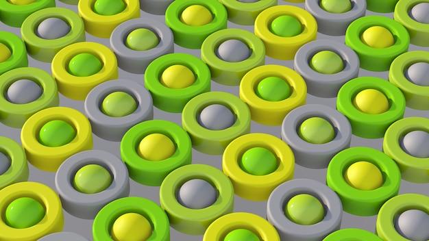 緑、黄、灰色の円の形。抽象的なイラスト、3dレンダリング。
