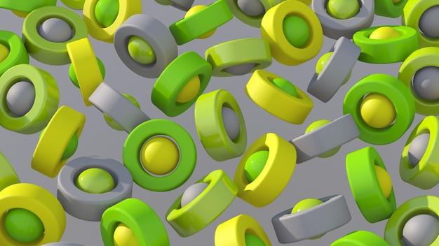 緑、黄、灰色の円の形が回転しています。抽象的なイラスト、3dレンダリング。