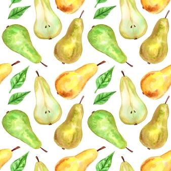 緑、黄色の梨と葉。シームレスパターン。手描きの水彩イラスト。印刷、ファブリック、テキスタイル、壁紙のテクスチャ。