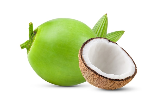 Green young coconut isolated on white