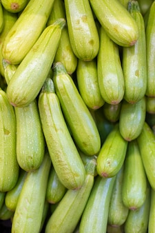 Green zucchini in the grocery stock