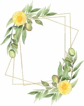 緑のクリップアート、水彩オリーブとレモンの花輪、葉の花束、柑橘類のクリップアート、花柄、結婚式の招待状、ロゴデザイン