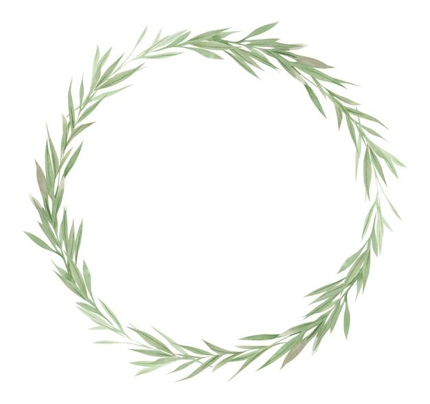 緑のフレーム、緑の葉と花輪の枝