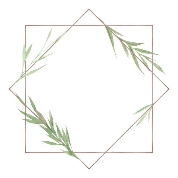 緑のフレーム、緑の葉と枝、水彩デザイン要素、手描きイラスト