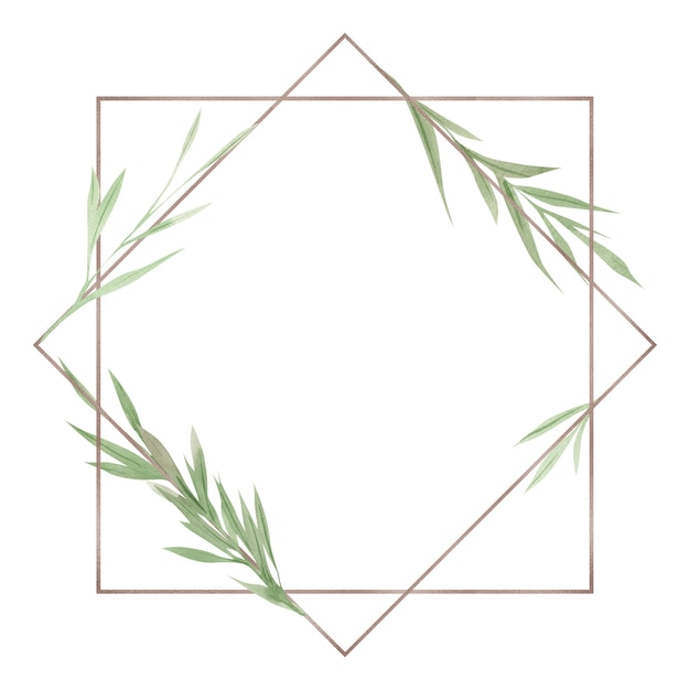 Greenery frame, green leaves and branches, watercolor design elements, hand drawn illustration