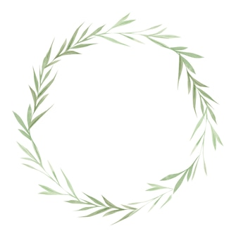 Greenery frame, green leaves and branches on wreath, watercolor design elements, hand drawn illustration