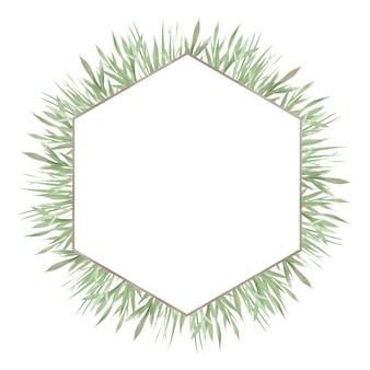 緑の水彩フレーム、緑の葉と枝
