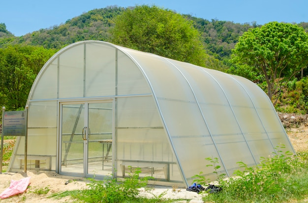 Greenhouse in the nature park outdoor with blue sky
