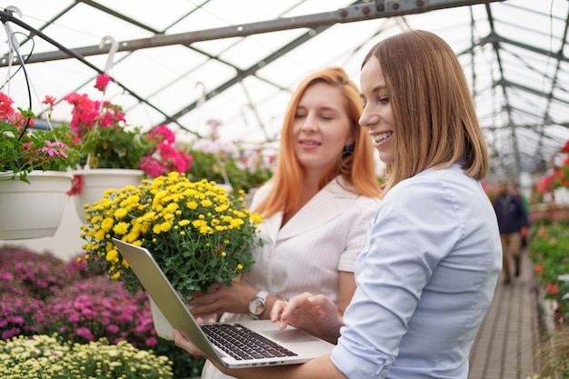 Proprietario di una serra che presenta le opzioni dei fiori a un potenziale rivenditore del cliente utilizzando il laptop.