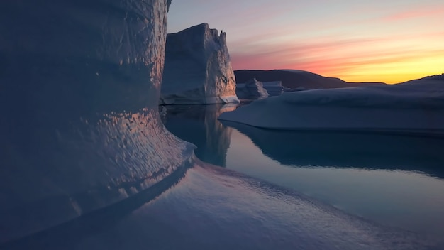 Greenland iceberg travel ocean snow